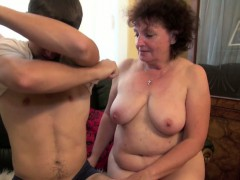Hairy mom fucks with step-son without a condom