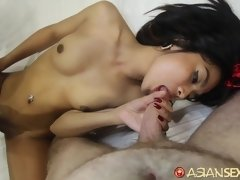 Asian Sex Diary - White guy empties load of cum in hot Asian