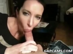 Beautiful brunette wife blowjob