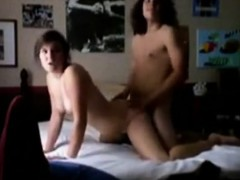 Long haired dude fucking his curvy GF on webcam