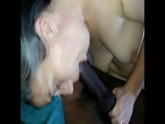 Cuckold White Girl Deepthroats HUGE Black Cock, Sloppy BJ