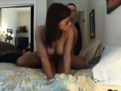 Amateur couple fucking on the king size bed