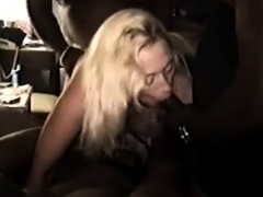 Blonde girl in an interracial gangbang