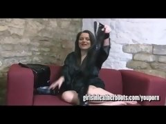 Busty babes tease and toy pussy in their naughty slutty leather boot fetish