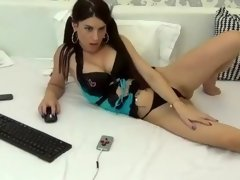 Hot brunette milf on webcam stripping and masturbating her pussy