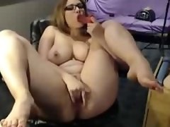Busty MILF With Glasses Strip And Play
