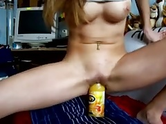 Amateur hot chick ride a bottle