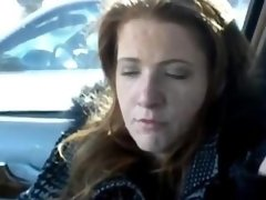 Redhead mature feet and soles in car