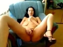 Brunette Babe Big Natural Tits Toying Hairy Pussy