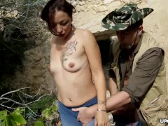 Cock hungry chick gets mouth fucked and drilled in the woods
