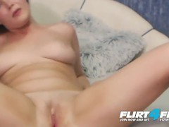 Flirt4Free - Farlei - Blue Eyed Brunette w Perfect Tits Fingers Tight Pussy