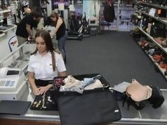Latina stewardess sells her stuff and banged at the pawnshop