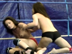 Wrestling dyke strapon fucked from behind